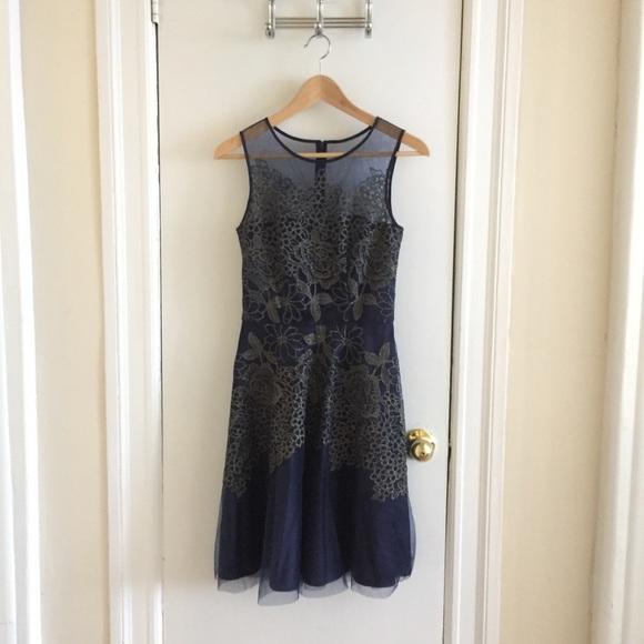 fc9eb99f7335 Tahari by ASL Metallic Embroidered Floral Dress. M_5b4545019fe486dfb1b8566c